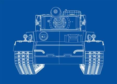 Blueprint of realistic tank vector illustration. Illustration