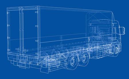 ヨーロッパのトラックの輪郭を描くベクトル  イラスト・ベクター素材