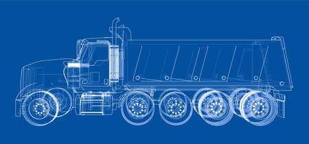 European truck outlined vector. Illustration