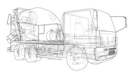 Truck mixer sketch. Vector.