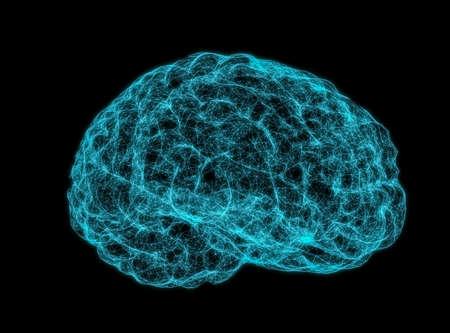 X-ray image of human brain on dark background. 3D Illustration