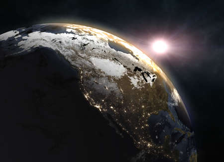 Sunrise over the Earth - North America. Stock Photo
