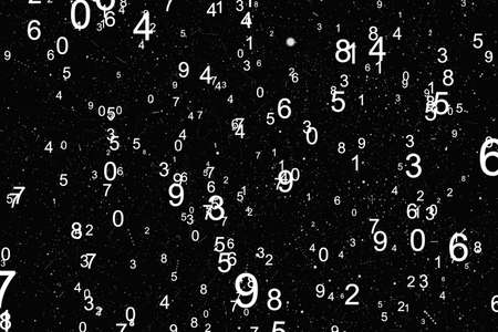 Abstract background with numbers. Fly numbers on black background