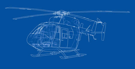 Outline drawing of helicopter. Vector rendering of 3d. The layers of visible and invisible lines are separated
