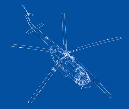 Engineering drawing of helicopter. Vector format, rendering of 3d Vectores