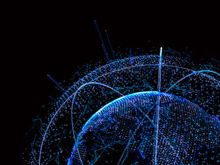 Digital abstract globe. Business technology concept. 3d rendering