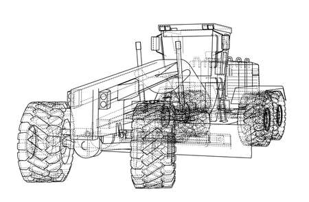 Road grader, construction machine design, Vector illustration