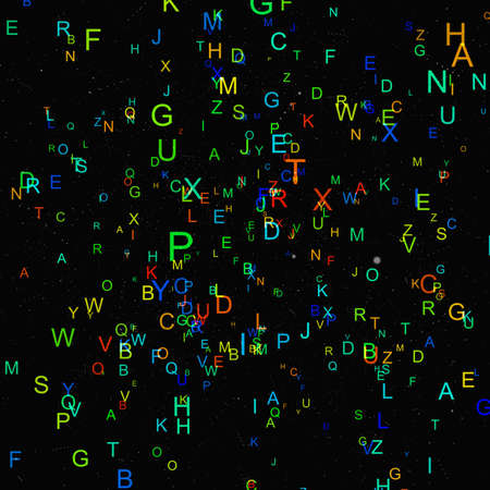 Abstract colorful alphabet fly on black background Stock Photo
