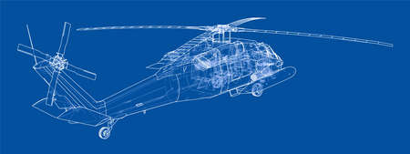 Helicopter outline. Military equipment. Vector format, rendering of 3d Çizim