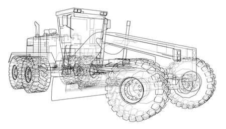 Road grader. Vector illustration on white background.