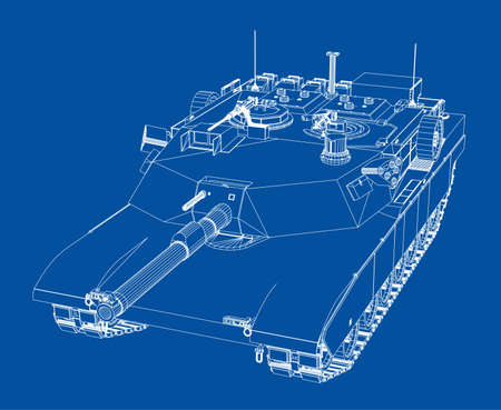Blueprint of realistic tank. Vector format, rendering of 3d