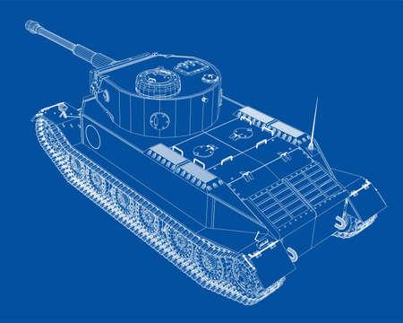 Blueprint of realistic tank. Vector EPS10 format, rendering of 3d 向量圖像