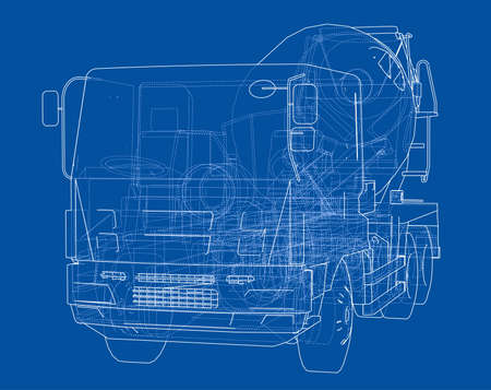 Truck mixer sketch. Vector rendering of 3d. The layers of visible and invisible lines are separated