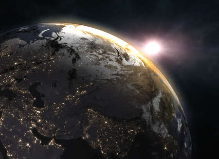 Planet Earth with sunrise in the space - Europe Stock Photo