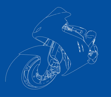 Motorcycle sketch. Vector rendering of 3d. The layers of visible and invisible lines are separated