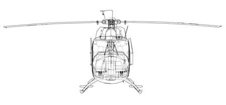 Outline drawing of helicopter 版權商用圖片 - 93523775