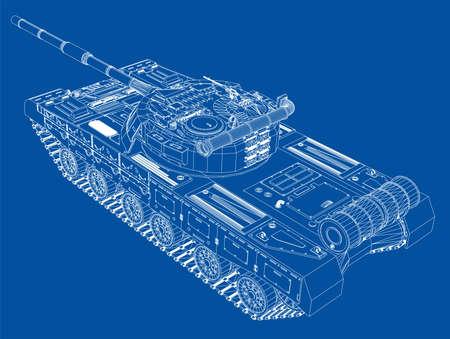 Blueprint of realistic tank. Vector EPS10 format, rendering of 3d Illustration