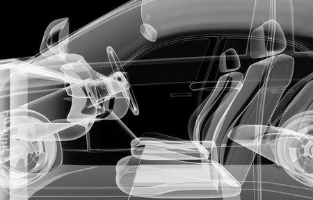 X-ray of car interior on black background Banco de Imagens