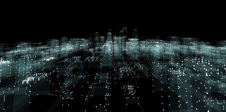 Abstracte lijnverbinding op de achtergrond van de nachtstad