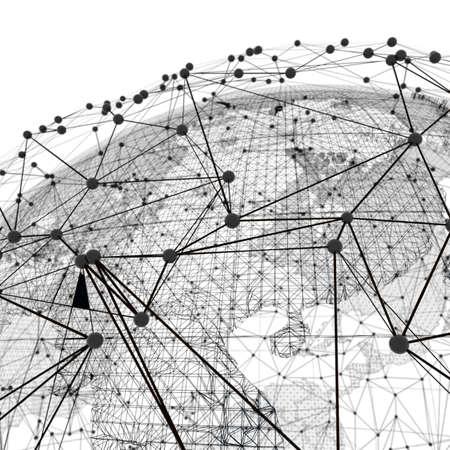 その上に地球とネットワークラインのクローズアップ