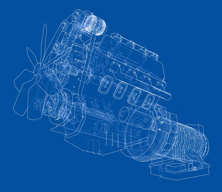 Car engine. Vector rendering of 3d Illustration