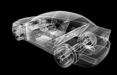 Xray image of a car on black background, 3d illustration Stock Photo