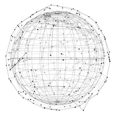 Close up of Earth and network lines on top of it