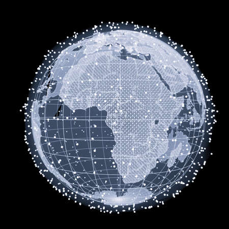 Abstract Telecommunication Earth Map