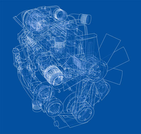 Car engine. Vector rendering of 3d Vettoriali