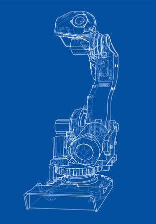 robot robot industrial o robot brazo ilustración vectorial