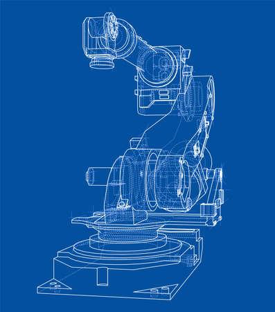 Industrial robot manipulator or robot arm vector illustration