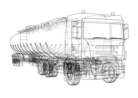 Oil truck in an outline sketch design illustration Иллюстрация