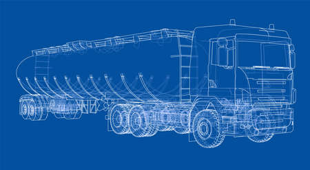 Oil truck sketch illustration. Vector image rendered from 3d model in sketch style or drawing. Blue background