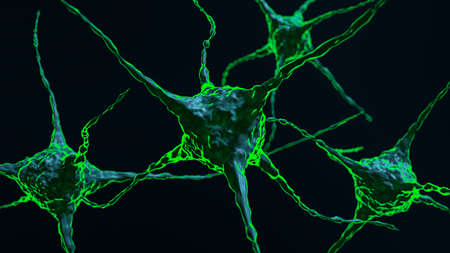 Conceptual 3D Illustration of Neuron Cells With Glowing Link Knots In Dark Background