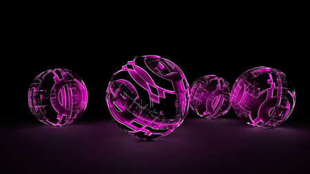 Abstract spheres of glowing circles and lines