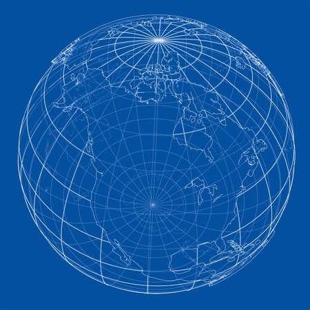 Globe contour. Vector EPS10 format, rendering of 3d