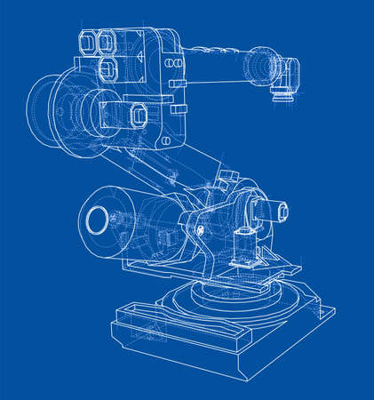 Industrial robot manipulator. Vector image rendered from 3d model in sketch style or drawing. Blue background.