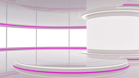 Abstract Empty White Shining Studio. Abstract Studio for TV News or Business Events. 3D Illustration.