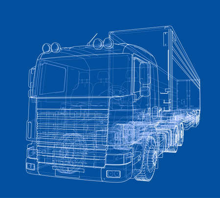European truck outlined vector isolated on blue background