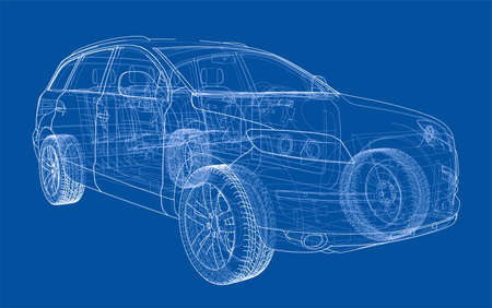 Concept car in 3d blueprint illustration Vector