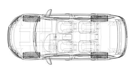 Concept car in 3d blueprint illustration Vector top view