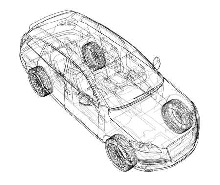 Concept car in 3d blueprint illustration Vector Vektoros illusztráció
