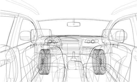 Concept car in 3d blueprint illustration Vector interior view