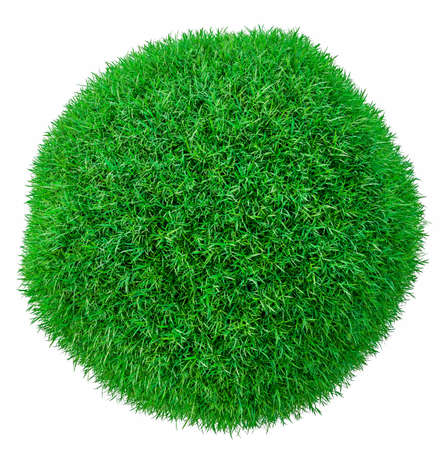 Green grass ball. Isolated on white
