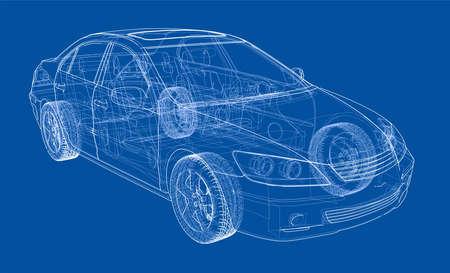 Car sketch vector illustration. Ilustração