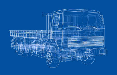 European truck outlined on blue background, vector illustration.