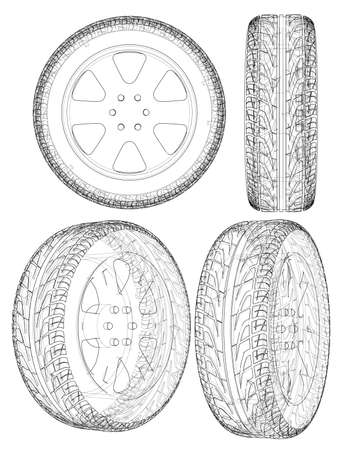 Car or truck tire drawing outline. Vector Vettoriali