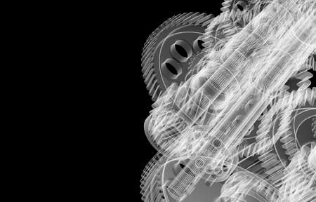 Gears, shafts and bearings. X-ray render Stockfoto