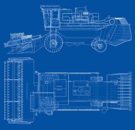 Concept combine-harvester. Vector rendering of 3d.