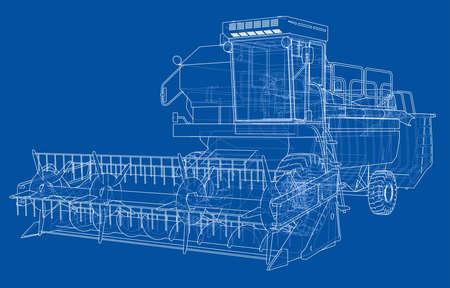 Concept combine-harvester. Vector rendering of 3d Stock Vector - 96133380